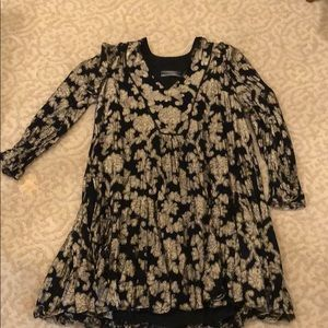 Anthropologie Black and Gold floral dress